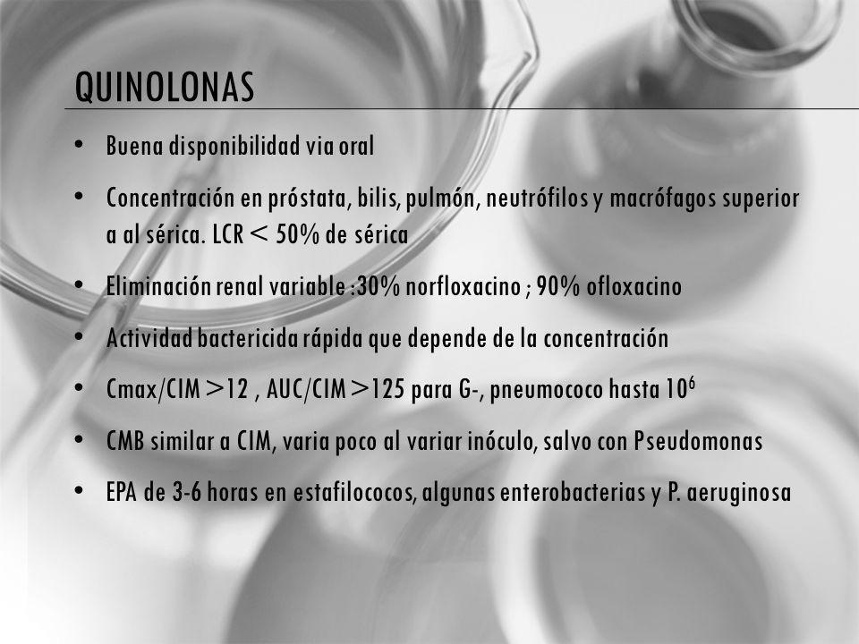 QUINOLONAS Buena disponibilidad via oral Concentración en próstata, bilis, pulmón, neutrófilos y macrófagos superior a al sérica. LCR < 50% de sérica