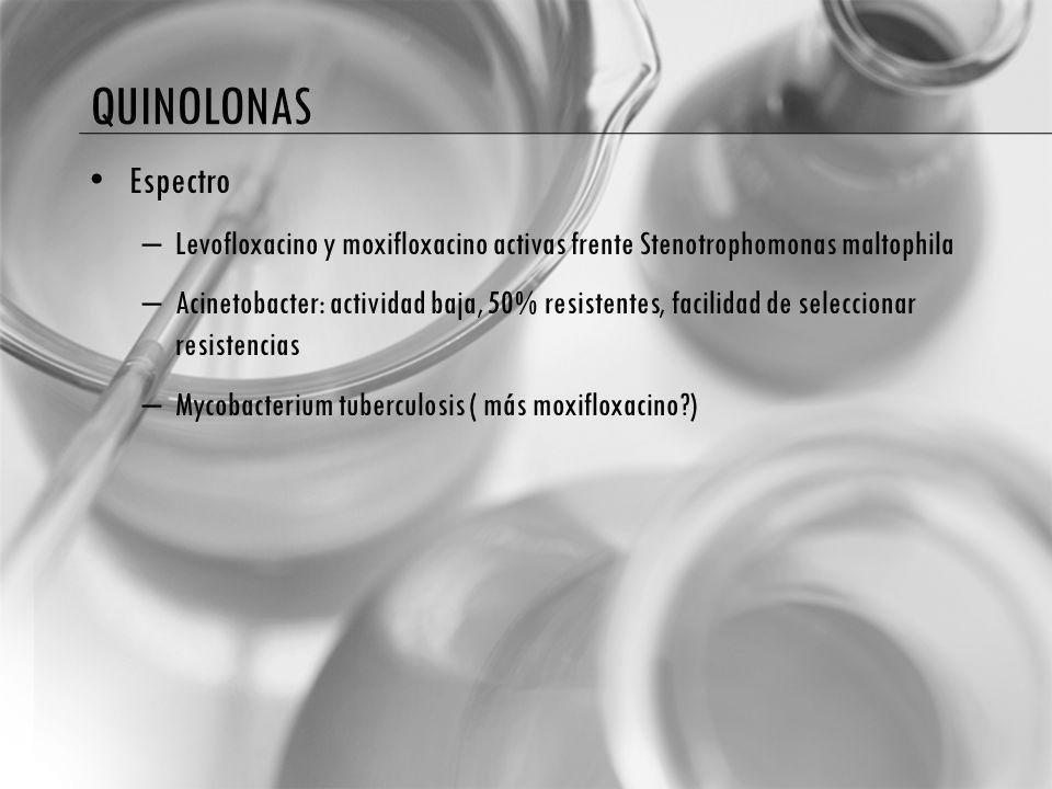 QUINOLONAS Espectro – Levofloxacino y moxifloxacino activas frente Stenotrophomonas maltophila – Acinetobacter: actividad baja, 50% resistentes, facilidad de seleccionar resistencias – Mycobacterium tuberculosis ( más moxifloxacino?)