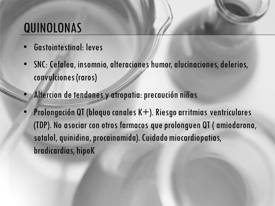 Gastointestinal: leves SNC: Cefalea, insomnio, alteraciones humor, alucinaciones, delerios, convulciones (raros) Altercion de tendones y atropatia: precaución niños Prolongación QT (bloquo canales K+).