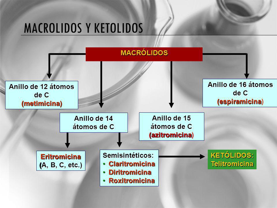 MACROLIDOS Y KETOLIDOSMACRÓLIDOS Anillo de 12 átomos de C (metimicina) Anillo de 16 átomos de C (espiramicina (espiramicina) Anillo de 14 átomos de C Anillo de 15 átomos de C (azitromicina (azitromicina) KETÓLIDOS:Telitromicina Eritromicina (A, B, C, etc.) Semisintéticos: ClaritromicinaClaritromicina DiritromicinaDiritromicina RoxitromicinaRoxitromicina