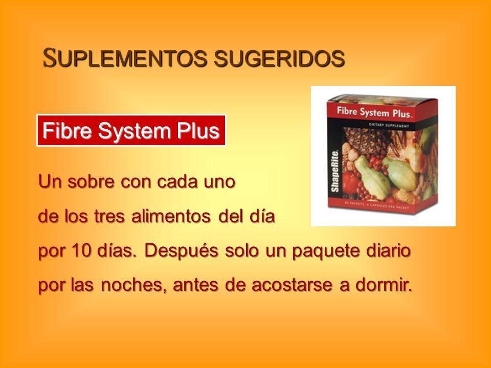 S UPLEMENTOS SUGERIDOS Fibre System Plus Un sobre con cada uno de los tres alimentos del día por 10 días. Después solo un paquete diario por las noche