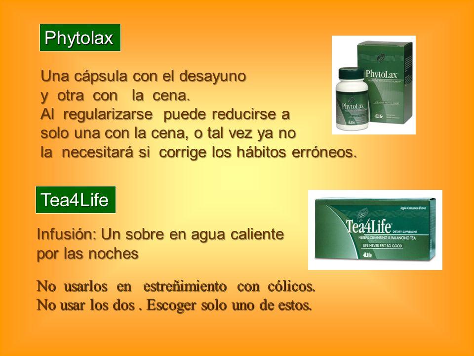 Phytolax Una cápsula con el desayuno y otra con la cena. Al regularizarse puede reducirse a solo una con la cena, o tal vez ya no la necesitará si cor