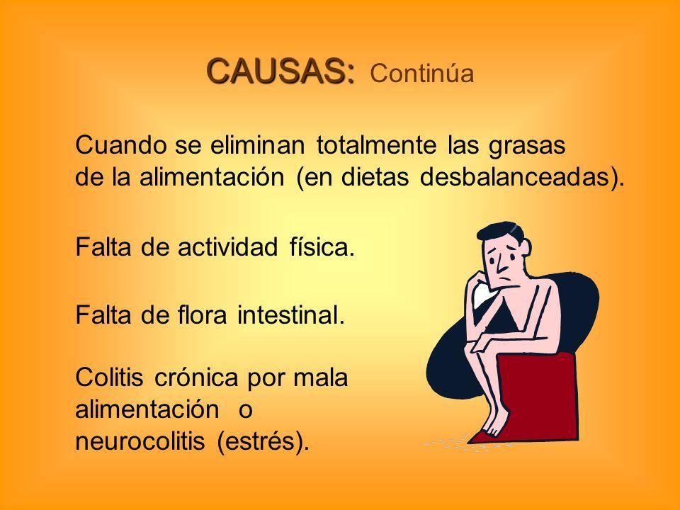 CAUSAS: CAUSAS: Continúa Cuando se eliminan totalmente las grasas de la alimentación (en dietas desbalanceadas). Falta de actividad física. Colitis cr
