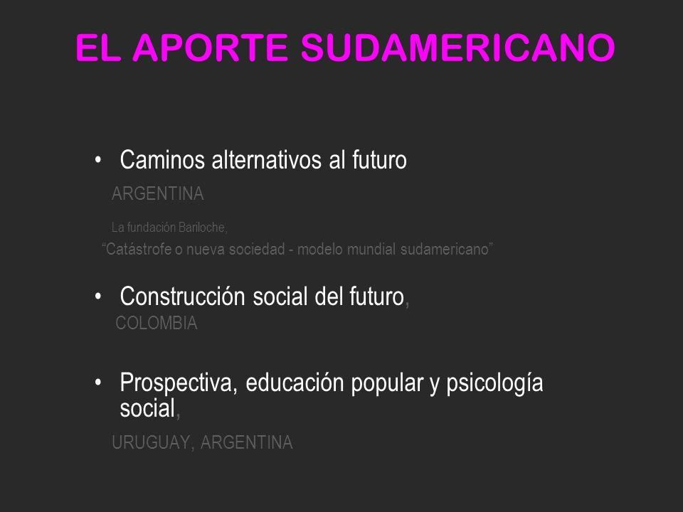 EL APORTE SUDAMERICANO Caminos alternativos al futuro ARGENTINA La fundación Bariloche, Catástrofe o nueva sociedad - modelo mundial sudamericano Construcción social del futuro, COLOMBIA Prospectiva, educación popular y psicología social, URUGUAY, ARGENTINA