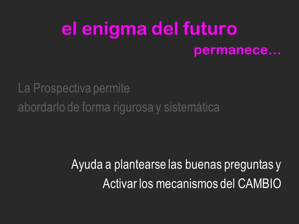 el enigma del futuro permanece… La Prospectiva permite abordarlo de forma rigurosa y sistemática Ayuda a plantearse las buenas preguntas y Activar los mecanismos del CAMBIO