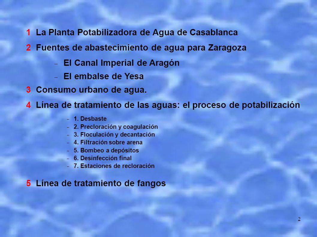 2 1 La Planta Potabilizadora de Agua de Casablanca 2 Fuentes de abastecimiento de agua para Zaragoza El Canal Imperial de Aragón El embalse de Yesa 3 Consumo urbano de agua.