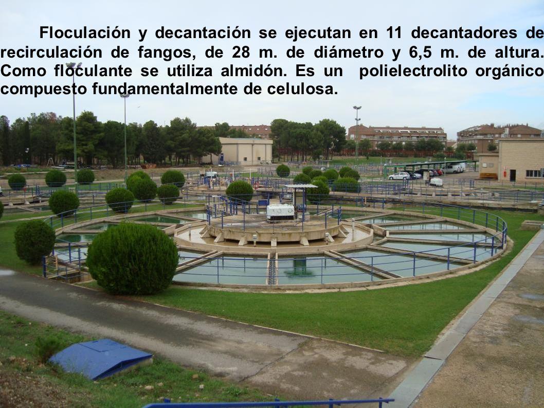 20 Foto de los decantadores Floculación y decantación se ejecutan en 11 decantadores de recirculación de fangos, de 28 m.