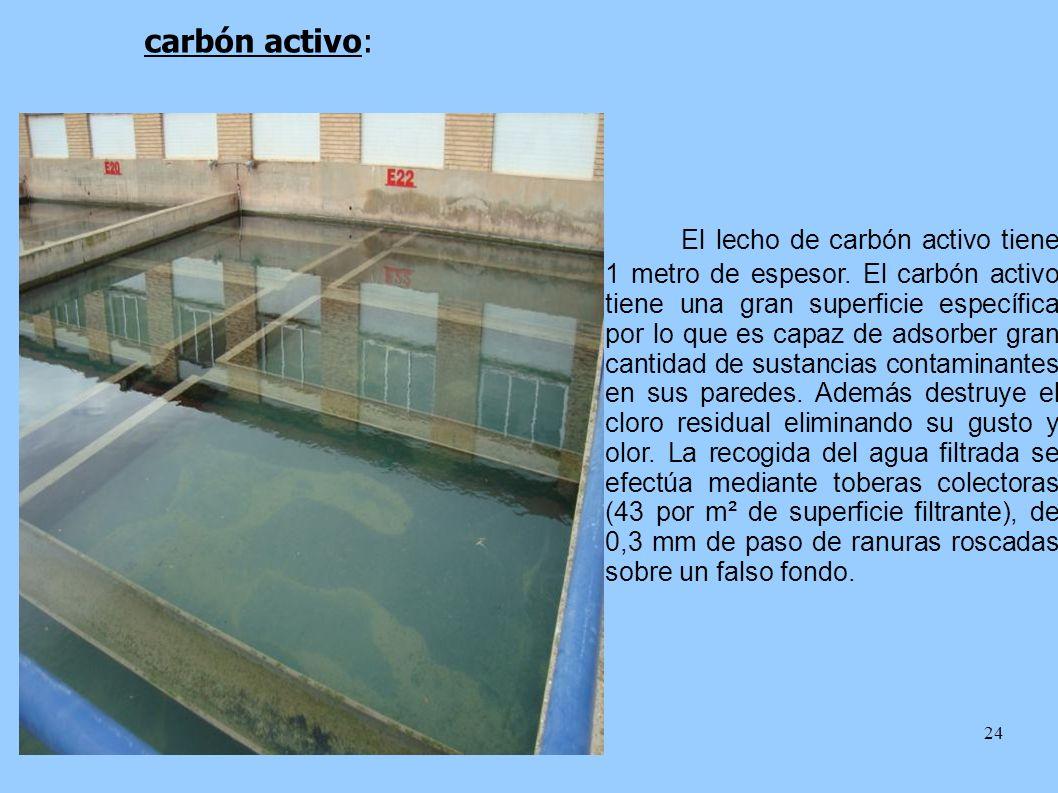 24 carbón activo: El lecho de carbón activo tiene 1 metro de espesor. El carbón activo tiene una gran superficie específica por lo que es capaz de ads