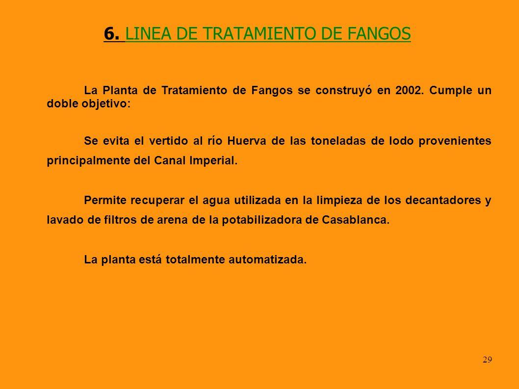 29 6. LINEA DE TRATAMIENTO DE FANGOS La Planta de Tratamiento de Fangos se construyó en 2002. Cumple un doble objetivo: Se evita el vertido al río Hue
