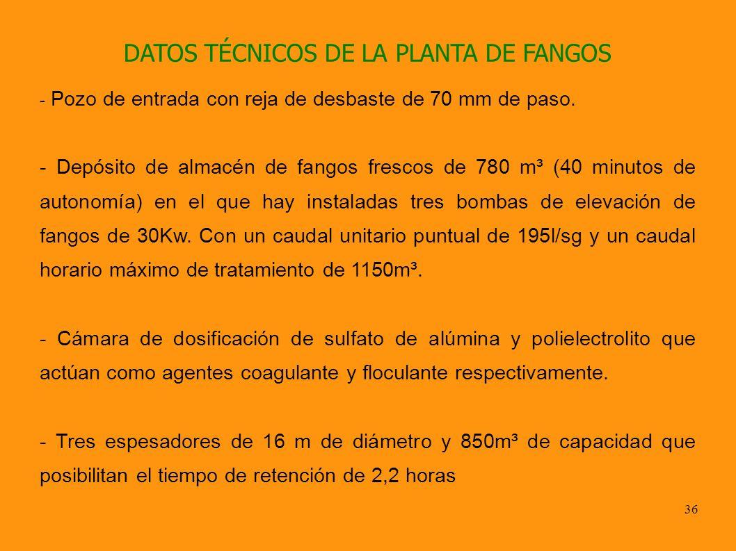 36 DATOS TÉCNICOS DE LA PLANTA DE FANGOS - Pozo de entrada con reja de desbaste de 70 mm de paso. - Depósito de almacén de fangos frescos de 780 m³ (4