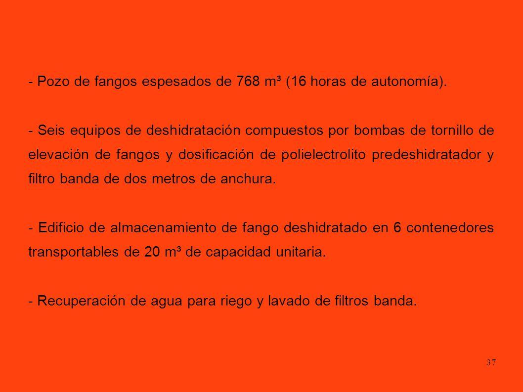 37 - Pozo de fangos espesados de 768 m³ (16 horas de autonomía).