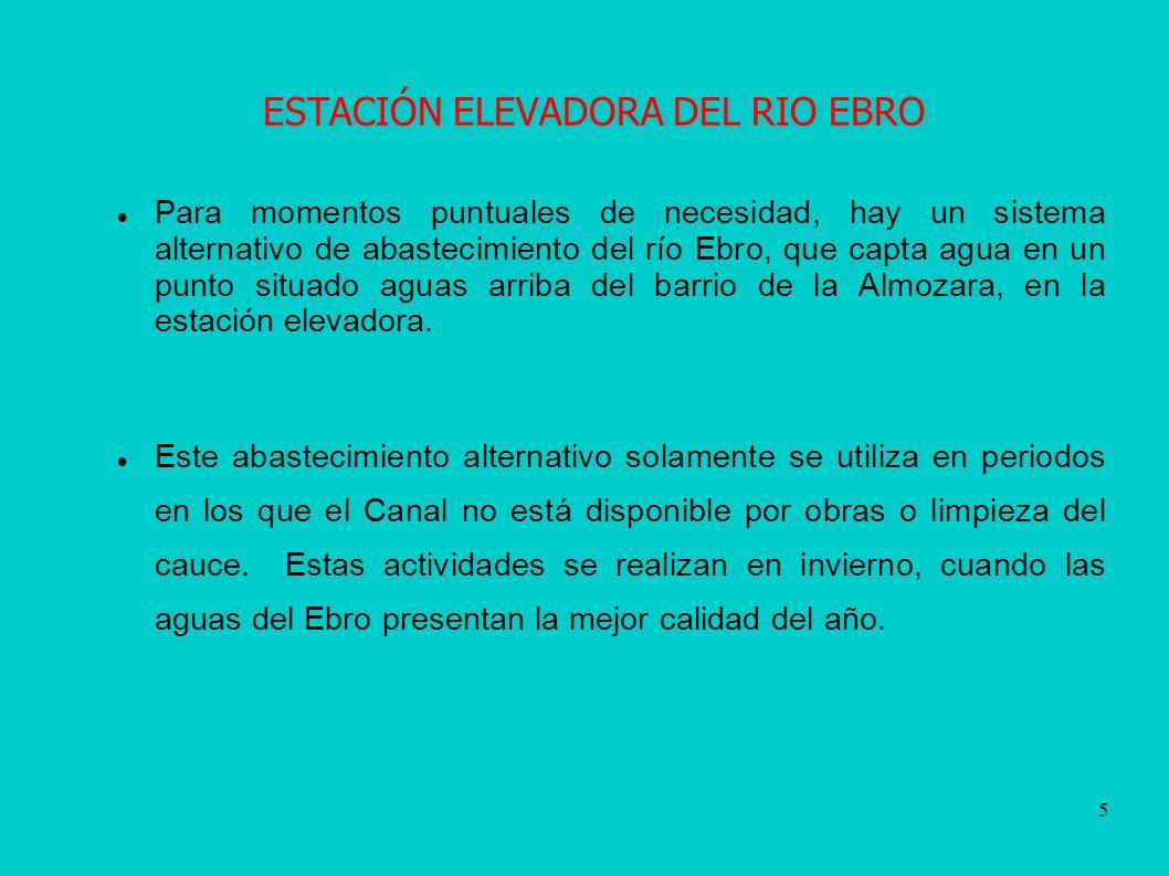 5 ESTACIÓN ELEVADORA DEL RIO EBRO Para momentos puntuales de necesidad, hay un sistema alternativo de abastecimiento del río Ebro, que capta agua en un punto situado aguas arriba del barrio de la Almozara, en la estación elevadora.