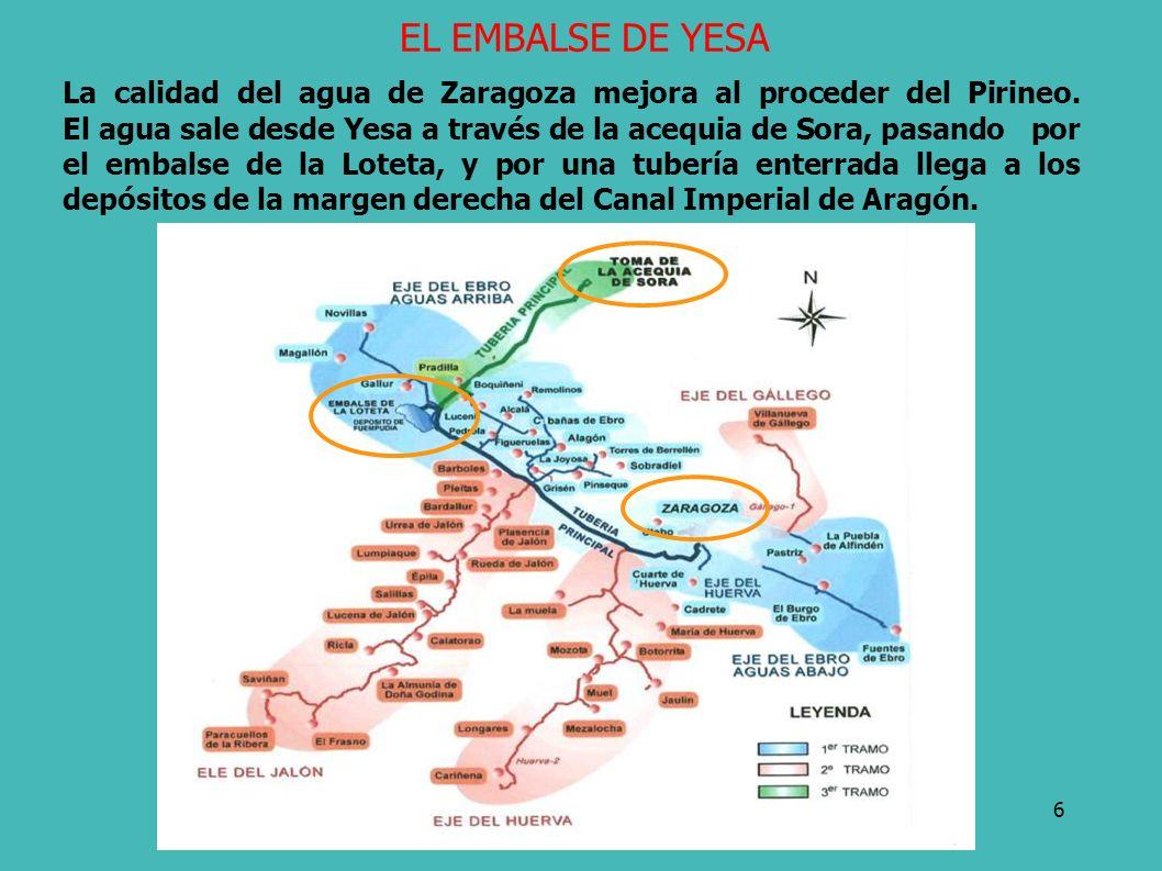 6 La calidad del agua de Zaragoza mejora al proceder del Pirineo. El agua sale desde Yesa a través de la acequia de Sora, pasando por el embalse de la