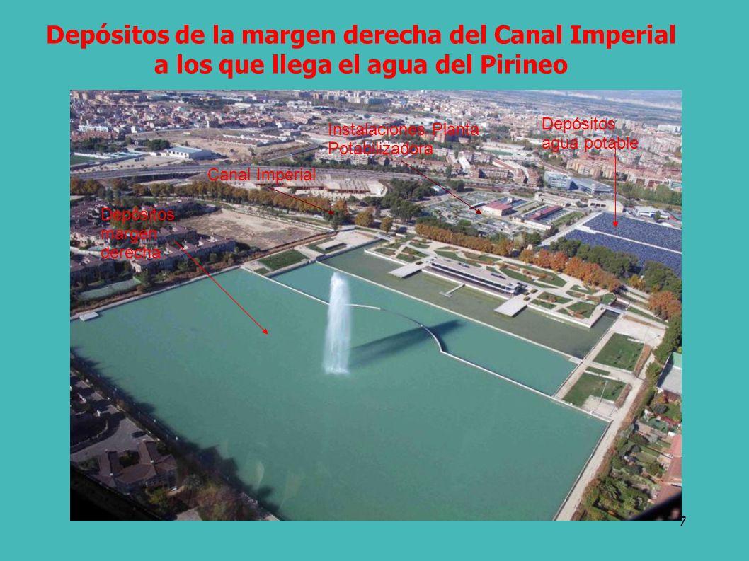7 Depósitos de la margen derecha del Canal Imperial a los que llega el agua del Pirineo Canal Imperial Instalaciones Planta Potabilizadora Depósitos margen derecha Depósitos agua potable