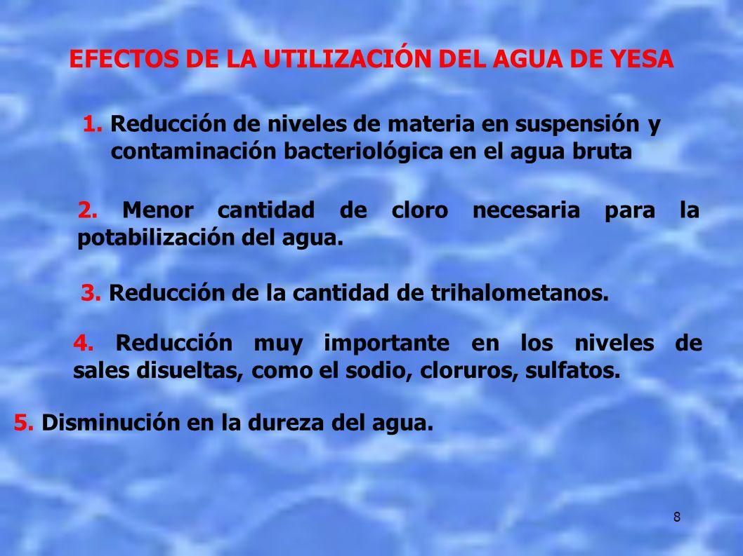 8 EFECTOS DE LA UTILIZACIÓN DEL AGUA DE YESA 2. Menor cantidad de cloro necesaria para la potabilización del agua. 3. Reducción de la cantidad de trih