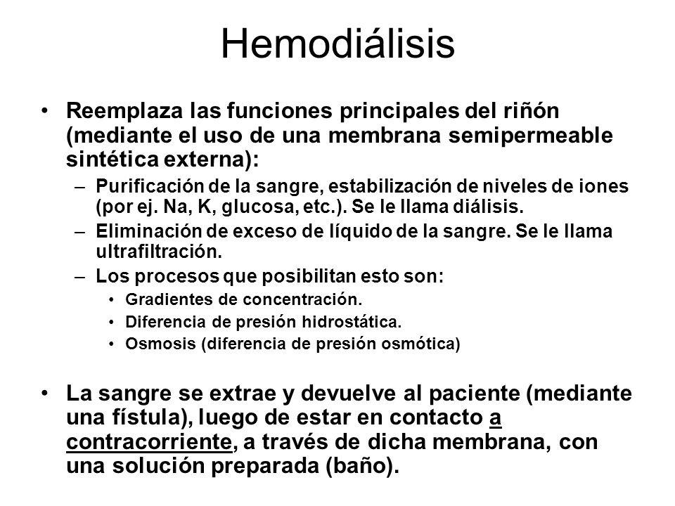 Reemplaza las funciones principales del riñón (mediante el uso de una membrana semipermeable sintética externa): –Purificación de la sangre, estabiliz