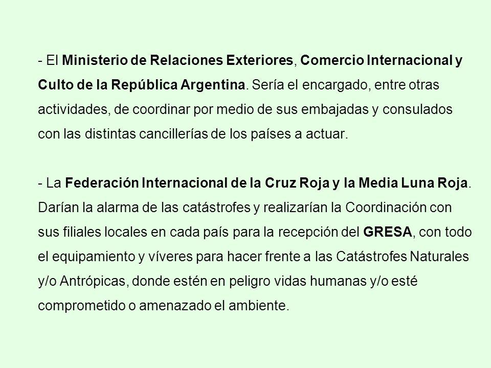 - El Ministerio de Relaciones Exteriores, Comercio Internacional y Culto de la República Argentina. Sería el encargado, entre otras actividades, de co