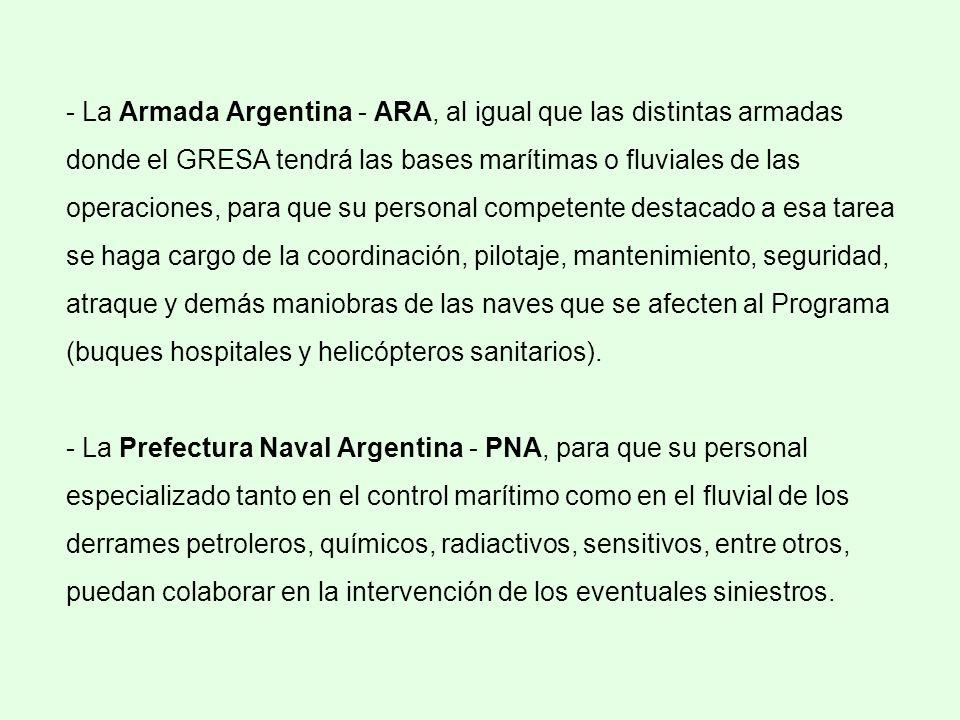 - La Armada Argentina - ARA, al igual que las distintas armadas donde el GRESA tendrá las bases marítimas o fluviales de las operaciones, para que su