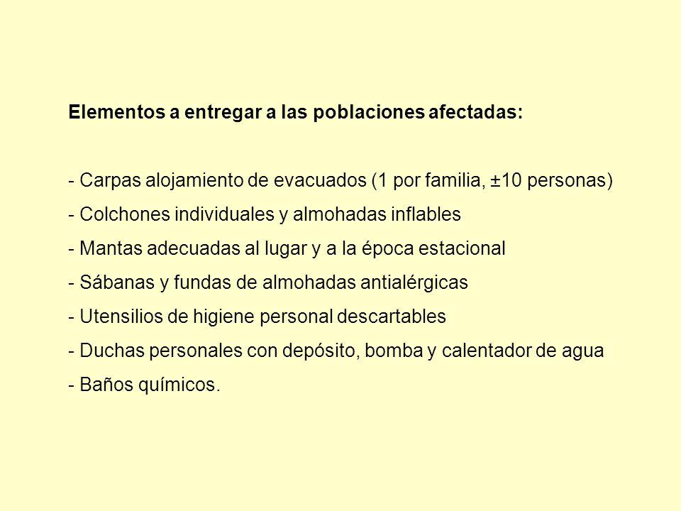 Elementos a entregar a las poblaciones afectadas: - Carpas alojamiento de evacuados (1 por familia, ±10 personas) - Colchones individuales y almohadas