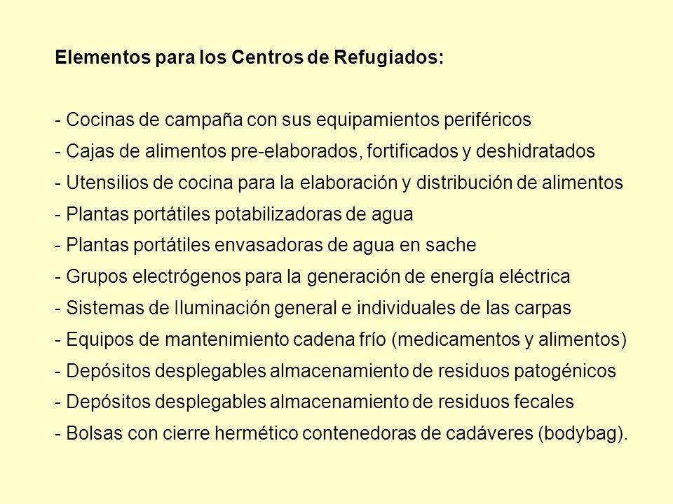Elementos para los Centros de Refugiados: - Cocinas de campaña con sus equipamientos periféricos - Cajas de alimentos pre-elaborados, fortificados y d