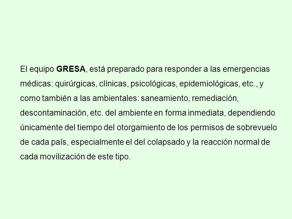 El equipo GRESA, está preparado para responder a las emergencias médicas: quirúrgicas, clínicas, psicológicas, epidemiológicas, etc., y como también a