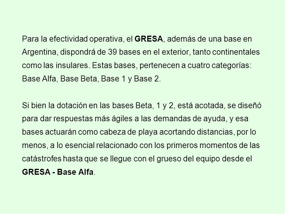 Para la efectividad operativa, el GRESA, además de una base en Argentina, dispondrá de 39 bases en el exterior, tanto continentales como las insulares