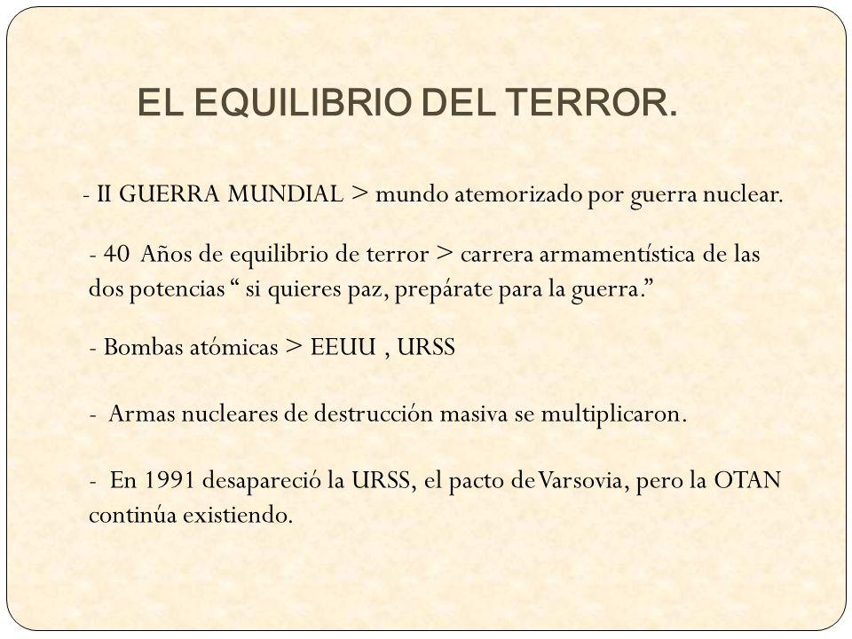 EL EQUILIBRIO DEL TERROR. - II GUERRA MUNDIAL > mundo atemorizado por guerra nuclear. - 40 Años de equilibrio de terror > carrera armamentística de la