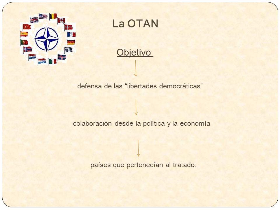 Objetivo La OTAN defensa de las libertades democráticas colaboración desde la política y la economía países que pertenecían al tratado.