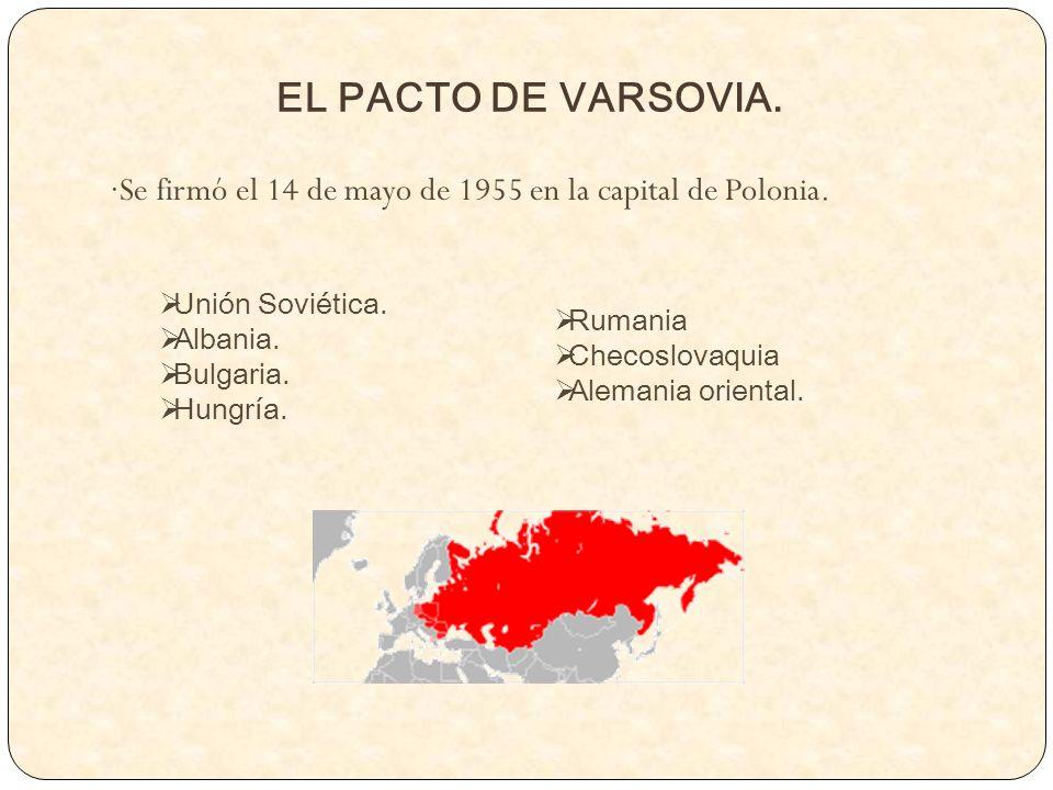 EL PACTO DE VARSOVIA. ·Se firmó el 14 de mayo de 1955 en la capital de Polonia. Unión Soviética. Albania. Bulgaria. Hungría. Rumania Checoslovaquia Al