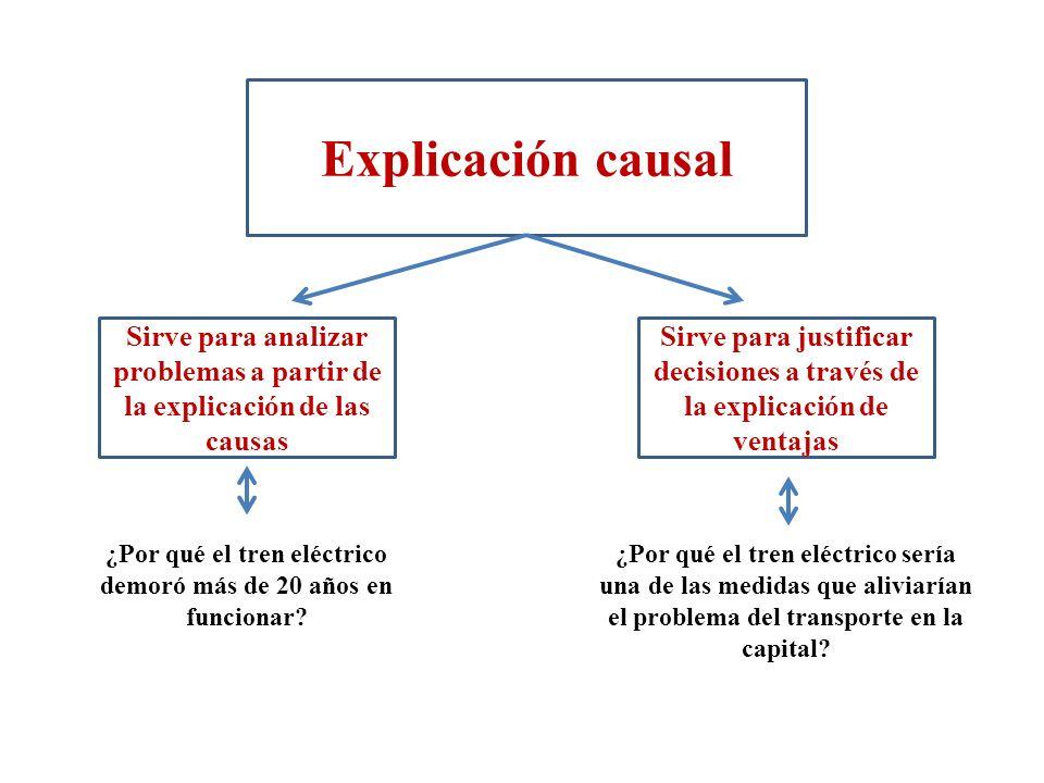 Explicación causal Sirve para analizar problemas a partir de la explicación de las causas Sirve para justificar decisiones a través de la explicación de ventajas ¿Por qué el tren eléctrico demoró más de 20 años en funcionar.