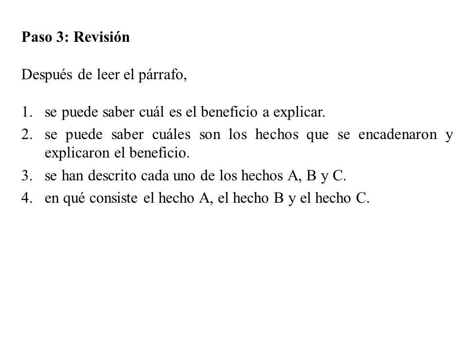 Paso 3: Revisión Después de leer el párrafo, 1.se puede saber cuál es el beneficio a explicar. 2.se puede saber cuáles son los hechos que se encadenar