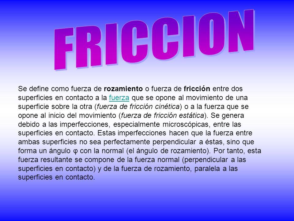 Se define como fuerza de rozamiento o fuerza de fricción entre dos superficies en contacto a la fuerza que se opone al movimiento de una superficie sobre la otra (fuerza de fricción cinética) o a la fuerza que se opone al inicio del movimiento (fuerza de fricción estática).