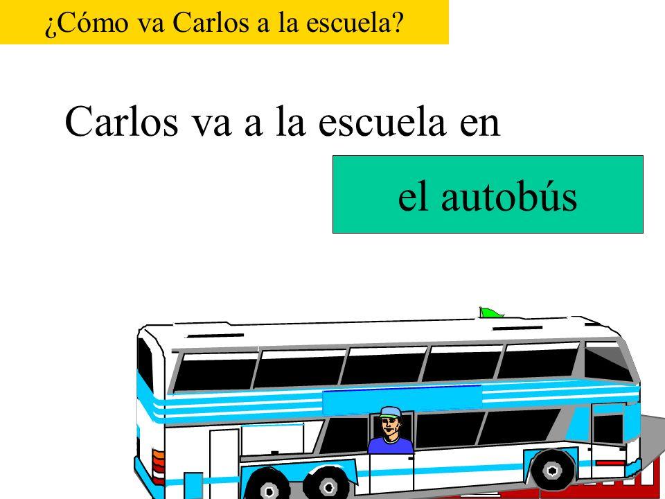 Carlos va a la escuela en P.S. 116 el tren ¿Cómo va Carlos a la escuela?