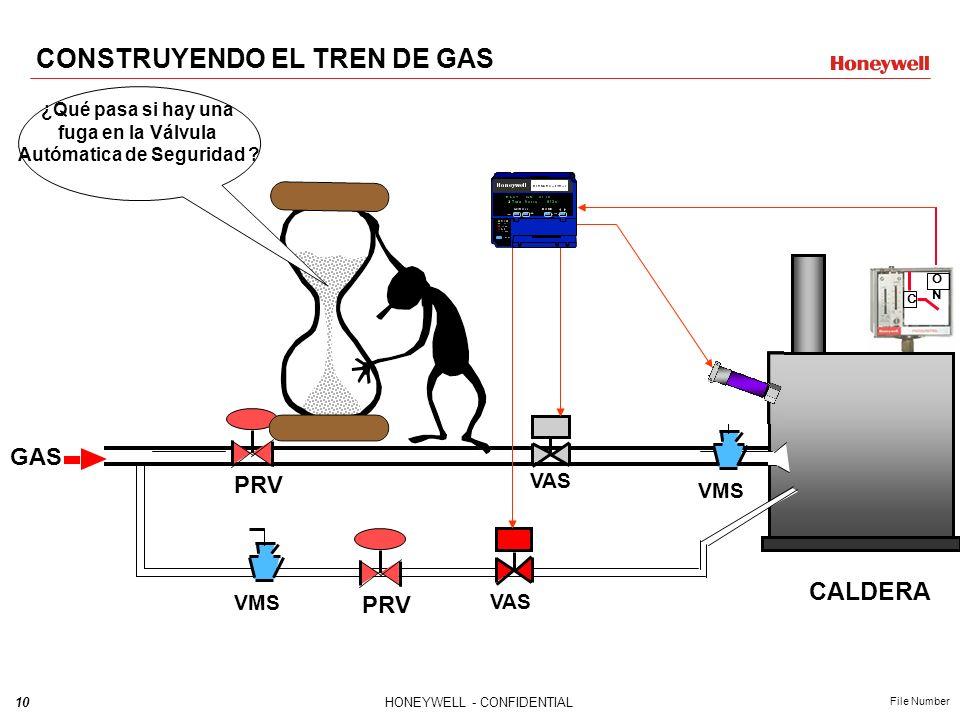9HONEYWELL - CONFIDENTIAL File Number CONSTRUYENDO EL TREN DE GAS C ONON VMS GAS VMS VAS CALDERA PRV Válvula reguladora de presión ¿Cómo reduzco la pr