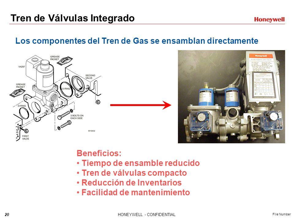 19HONEYWELL - CONFIDENTIAL File Number Tren de Válvulas Integrado Válvula de Venteo Válvulas Automáticas de Seguridad Control de Baja Presión de Gas C