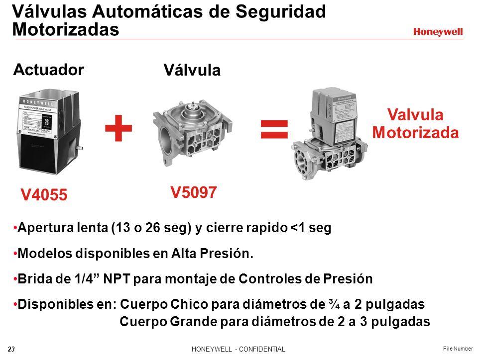 22HONEYWELL - CONFIDENTIAL File Number Válvulas Automáticas de Seguridad V4297A Solenoide V5097 Válvula Motorizad a Las Válvulas Automáticas de Seguri