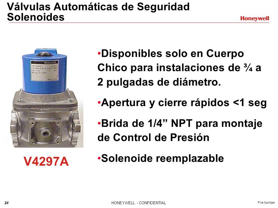 23HONEYWELL - CONFIDENTIAL File Number V4055 V5097 + = Valvula Motorizada Válvulas Automáticas de Seguridad Motorizadas Actuador Válvula Apertura lent