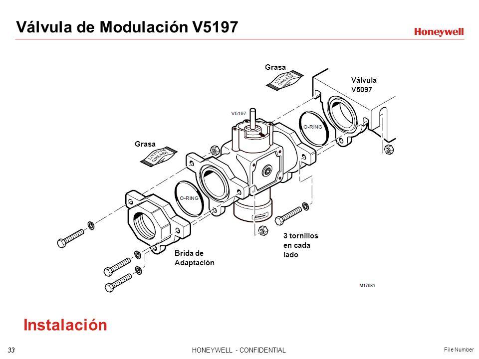32HONEYWELL - CONFIDENTIAL File Number Válvula de Modulación V5197 Grados Apertura Curva de Flujo con puerto de ajuste al 100% de apertura Curva de Fl