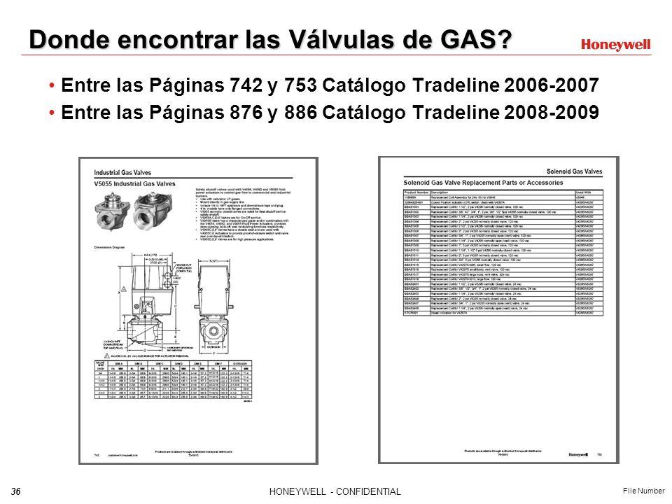 35HONEYWELL - CONFIDENTIAL File Number Selección de una Válvula de Gas Diámetro (pulgadas) Presión de Operación (psi, Pa, in wc) Apertura (rápida, len