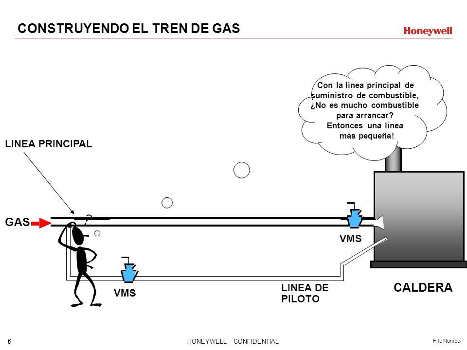 5HONEYWELL - CONFIDENTIAL File Number CALDERA GAS VMS VÁLVULA MANUAL DE SEGURIDAD Necesito algo para interrumpir el paso del combustible CONSTRUYENDO