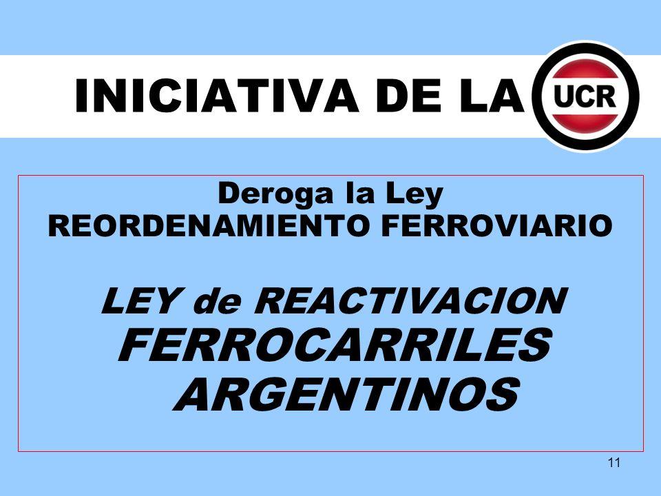 11 INICIATIVA DE LA Deroga la Ley REORDENAMIENTO FERROVIARIO LEY de REACTIVACION FERROCARRILES ARGENTINOS