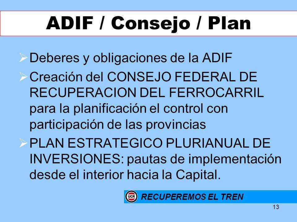 13 Deberes y obligaciones de la ADIF Creación del CONSEJO FEDERAL DE RECUPERACION DEL FERROCARRIL para la planificación el control con participación d