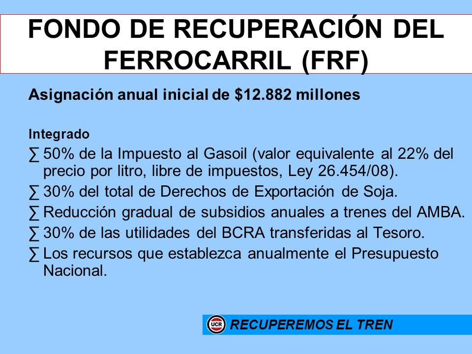 16 FONDO DE RECUPERACIÓN DEL FERROCARRIL (FRF) Asignación anual inicial de $12.882 millones Integrado 50% de la Impuesto al Gasoil (valor equivalente