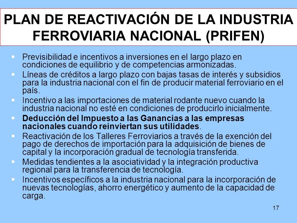17 PLAN DE REACTIVACIÓN DE LA INDUSTRIA FERROVIARIA NACIONAL (PRIFEN) Previsibilidad e incentivos a inversiones en el largo plazo en condiciones de eq