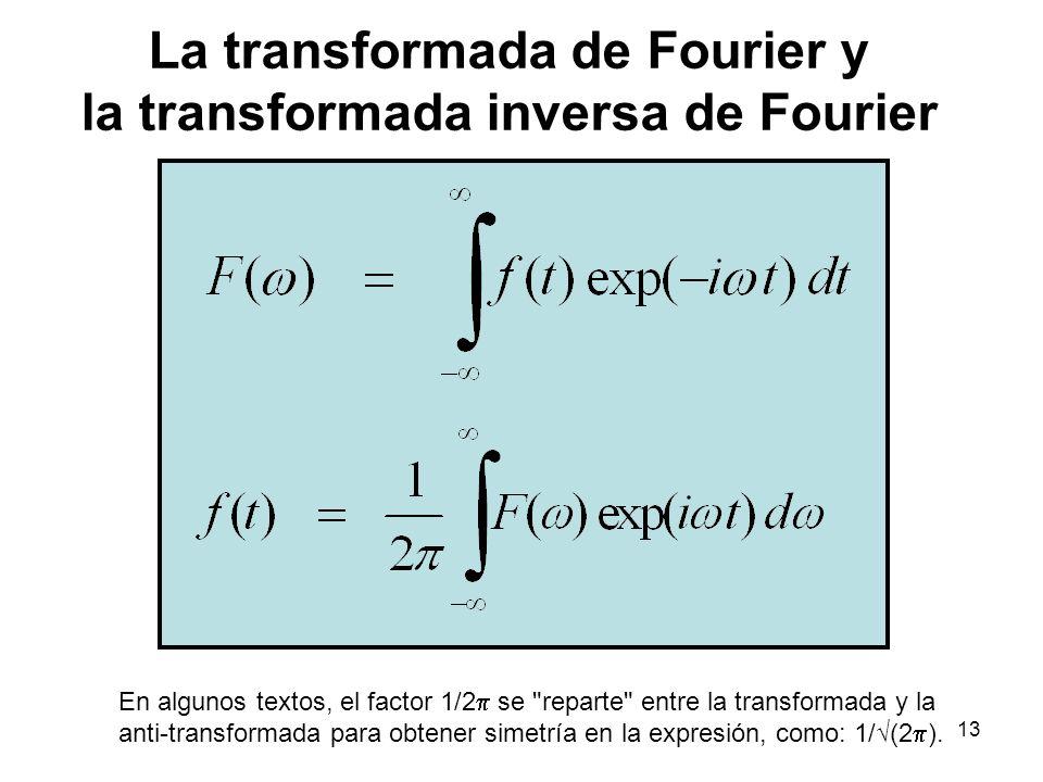 La transformada de Fourier y la transformada inversa de Fourier En algunos textos, el factor 1/2 se