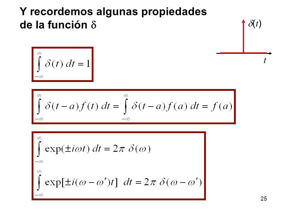 Y recordemos algunas propiedades de la función t ( t ) 25