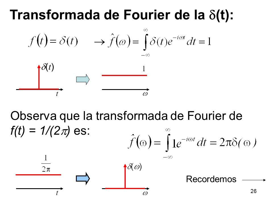 Transformada de Fourier de la (t): t ( t ) ( ) Observa que la transformada de Fourier de f(t) = 1/(2 ) es: t Recordemos 26