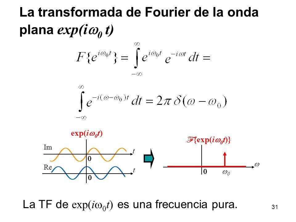 La transformada de Fourier de la onda plana exp(i 0 t) La TF de exp(i 0 t) es una frecuencia pura. F {exp(i 0 t)} exp(i 0 t) t t Re Im 31