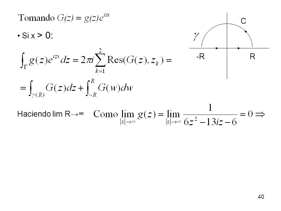 Si x > 0: Haciendo lim R -RR C 40