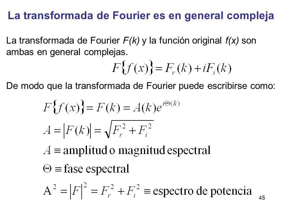 La transformada de Fourier es en general compleja La transformada de Fourier F(k) y la función original f(x) son ambas en general complejas. De modo q